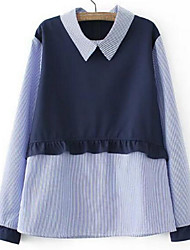 Women's Going out / Casual/Daily Simple Shirt,Striped / Color Block Shirt Collar Long Sleeve Blue Polyester