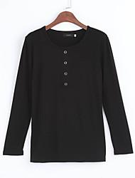 Tee-shirt Femme,Couleur Pleine Décontracté / Quotidien Grandes Tailles simple Printemps Automne Manches Longues Col ArrondiRouge Noir