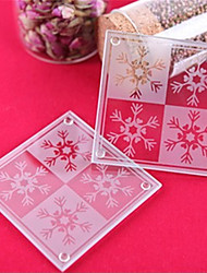 2pcs Christmas Snowflakes Glass Coasters Beter Gifts®Home Dcor