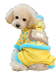 Dog Hoodie Clothes/Jumpsuit Yellow Pink Dog Clothes Winter Spring/Fall Cartoon Cute Keep Warm