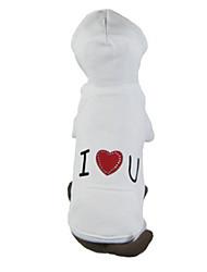 Chien Pulls à capuche Vêtements pour Chien Décontracté / Quotidien Cœur Blanc Orange Gris Bleu Rose