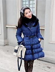 Feminino Curto Casaco Capa,Moda de Rua / Sofisticado Sólido Trabalho / Esportivo-Algodão Polipropileno Manga Longa Colarinho Chinês Azul