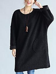 Feminino Solto Vestido, Casual Fofo Sólido Decote Redondo Acima do Joelho Manga Longa Rosa / Preto Algodão Outono / Inverno Cintura Alta