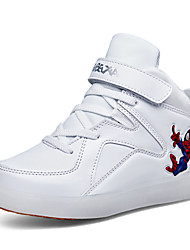 Boy's Sneakers Spring Fall Winter Comfort Light Up Shoes PU Outdoor Casual Athletic Flat Heel LED Hook & Loop Black Blue Red White Other