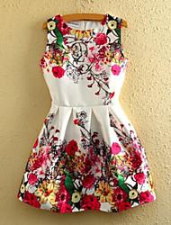 Feminino Rodado Vestido,Informal / Férias Fofo Floral Decote Redondo Mini Sem Manga Branco Poliéster Verão Cintura Média Sem Elasticidade