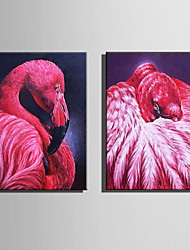 E-HOME Stretched Canvas Art Red Bird Decoration Painting  Set Of 2