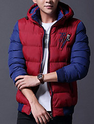 Men's Regular Padded Coat,Simple Going out / Casual/Daily Solid-Cotton Cotton Long Sleeve Hooded Red / White / Black / Brown / Yellow