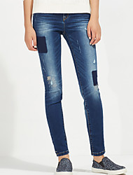 Metersbonwe Women's Solid Blue Jeans PantsStreet chic Winter