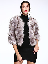 Women's Casual/Daily Simple Fur Coat,Solid Long Sleeve Winter White Faux Fur Thick