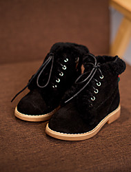 Girls' Boots Comfort Cowhide Casual Comfort Black Beige Yellow Flat