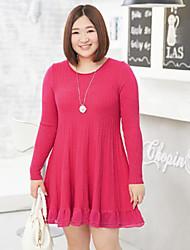 Mujer Regular Pullover Casual/Diario Simple,Un Color Azul Rojo Escote Redondo Manga Larga Nailon Otoño Invierno Medio Microelástico