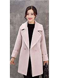 Women's Casual/Daily Simple Coat,Solid V Neck Long Sleeve Winter Pink / Red Wool Medium