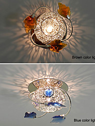 LED Ceiling Lights Warm White / Cool White Crystal Mini Style in Chrome Finish with Blue Brown Color