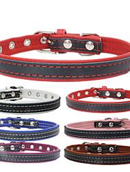 Dog Collar Adjustable/Retractable / Rivet / Handmade Solid Red / Black / Blue / Brown / Pink Genuine Leather