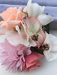 Bouquets de Noiva Rosas Peônias Alfinetes de Lapela Casamento Festa / noite Cetim