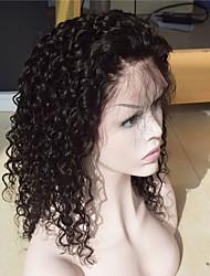 brasileira cheia do laço do cabelo humano peruca natural da onda de água preta perucas de cabelo humano virgem com cabelo do bebê e da