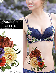 5Pcs  Colorful Rose Flower Pattern Tattoo Design Sexy Female Shoulder Back Leg Body Art Temporary Tattoo Sticker