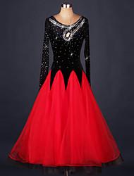 Danse de Salon Robes Femme Spectacle Organza Velours Fantaisie 1 Pièce Manche longue Taille moyenne Robe