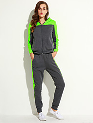 Women's Casual/Daily Street chic / Active Hoodies Color Block Gray Cotton / Rayon Set