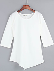 Women's Casual/Daily Sexy / Vintage All Seasons T-shirt,Solid Round Neck ¾ Sleeve Pink / Black Polyester Thin