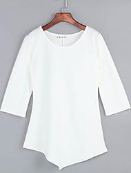 Damen Solide Sexy / Retro Lässig/Alltäglich T-shirt,Rundhalsausschnitt Alle Saisons ¾-Arm Rosa / Schwarz Polyester Dünn