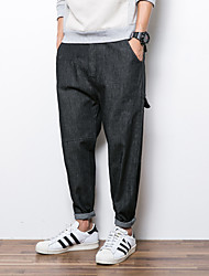 Men's Harem Jeans Pants,Casual/Daily Simple Solid Mid Rise Zipper Cotton Micro-elastic Fall