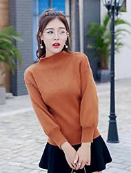 Damen Standard Pullover-Lässig/Alltäglich Einfach Solide Schwarz Grau Orange Rundhalsausschnitt Langarm Acryl Winter Mittel