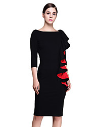 Women's Going out / Casual/Daily / Holiday Sexy / Simple / Sophisticated Sheath Dress,Geometric Round Neck Above Knee ¾ Sleeve Black