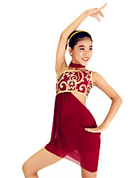Ballet Outfits Women's Children's Performance Sequined Lycra Sequins Side-Draped 3 Pieces Sleeveless Natural Neckwear Top