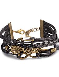 europe neutre et les États-Unis de punk vent restauration anciennes voies bracelet cordon en cuir avec chaîne de corde en cuir d'alliage