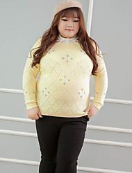 Damen Kurz Pullover-Lässig/Alltäglich Übergröße Niedlich Stickerei Gelb Rundhalsausschnitt Langarm Baumwolle Winter Mittel Mikro-elastisch