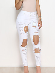 Slim Skinny Jeans Pants,Going out Casual/Daily Sexy Vintage Simple Solid High Rise Zipper Spandex Micro-elastic Spring Summer