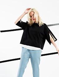 Damen Solide Einfach / Street Schick Strand / Ausgehen / Lässig/Alltäglich T-shirt,Rundhalsausschnitt Frühling / Sommer ½ Länge Ärmel