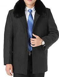 Men's Plus Size / Casual/Daily Simple Trench Coat,Solid Long Sleeve Gray Wool