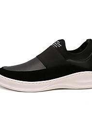 Masculino-Mocassins e Slip-Ons-Conforto-Plataforma-Preto / Preto e Branco-Couro-Casual