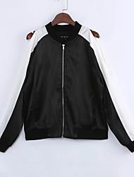 Feminino Jacket Bomber Casual Moda de Rua Primavera Outono Padrão Poliéster Colarinho Chinês Retalhos