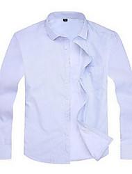 Men's Going out Simple Fall Shirt,Print Shirt Collar Long Sleeve Multi-color Cotton Medium
