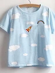 Tee-shirt Femme,Imprimé Sortie simple Manches Courtes Col Arrondi Multi-couleur Coton