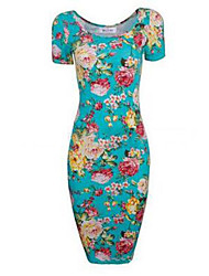 Women's Formal / Party Sexy / Vintage / Boho Bodycon DressFloral Round Neck Knee-length Short Sleeve