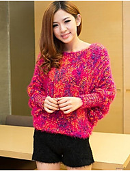 Damen Standard Pullover-Lässig/Alltäglich Einfach Solide Blau Rot Schwarz Grün Orange Rundhalsausschnitt Langarm Baumwolle Herbst Winter