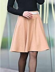 Mujer Faldas,Línea A Un Color Tiro Alto Casual/Diario Hasta la Rodilla Botón Poliéster Micro-elástica Otoño / Invierno