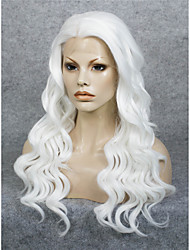 IMSTYLE 24''Drag Queen White Water Wave 150%-180% High Density Synthetic Lace Front Wigs Heat Resistant