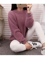 Damen Standard Pullover-Ausgehen Lässig/Alltäglich Einfach Solide Rot Grau Lila Rundhalsausschnitt Langarm Polyester Herbst Winter Mittel