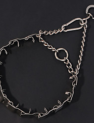 Dog Collar Adjustable/Retractable / Safety Solid Silver Stainless Steel