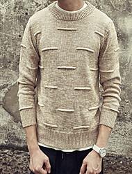Herren Standard Pullover-Lässig/Alltäglich Einfach Solide Braun Rundhalsausschnitt Langarm Kunst-Pelz Baumwolle Frühling Herbst Mittel