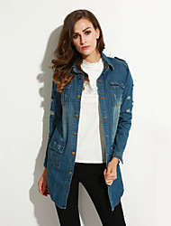 Women's Going out Street chic Fall Denim Jackets,Solid Shirt Collar Long Sleeve Blue Spandex Medium