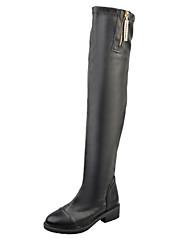 Women's Boots Winter Comfort PU Casual Chunky Heel Split Joint Black