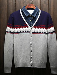 Men's Casual/Daily Simple Regular Cardigan,Striped Gray Round Neck Long Sleeve Cotton Spring / Fall Medium Micro-elastic