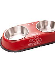 Gato / Cachorro Comedouro Animais de Estimação Tigelas e alimentação de animais Portátil Vermelho / Amarelo Aço Inoxidável