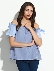 Women's Casual/Daily Sexy / Street chic Summer Blouse,Striped Boat Neck Short Sleeve Blue Polyester Thin